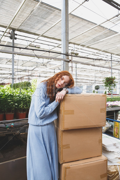 Girl lying on boxes in greenhouse Stock photo © deandrobot