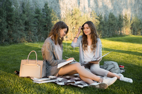 Stock photo: Cheerful young two women sitting outdoors in park writing notes.