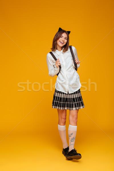 Portret gelukkig schoolmeisje uniform Stockfoto © deandrobot