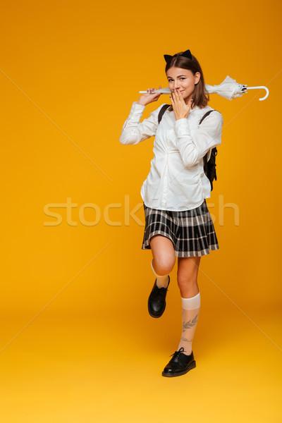 портрет Cute молодые школьница равномерный Сток-фото © deandrobot