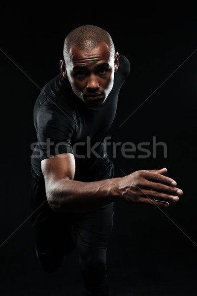 Close-up portrait of afro american healthy running man Stock photo © deandrobot