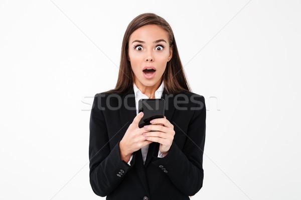 довольно деловая женщина телефон фото Сток-фото © deandrobot