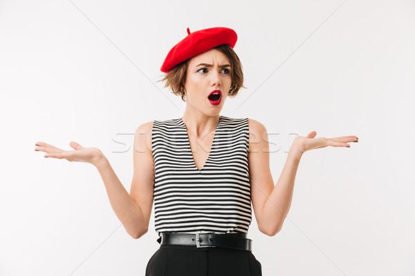 Retrato confuso mulher vermelho boina Foto stock © deandrobot