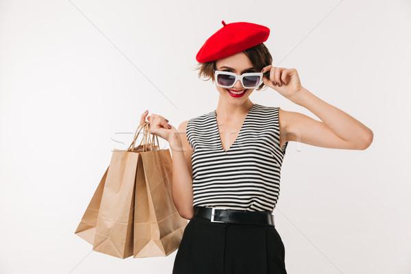портрет женщину красный берет Солнцезащитные очки Сток-фото © deandrobot