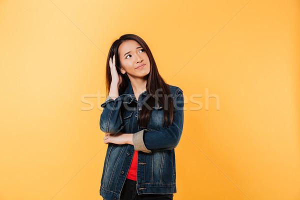 Foto stock: Asiático · mulher · jaqueta · cabeça