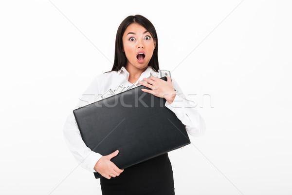 Close up portrait of a shocked asian businesswoman Stock photo © deandrobot