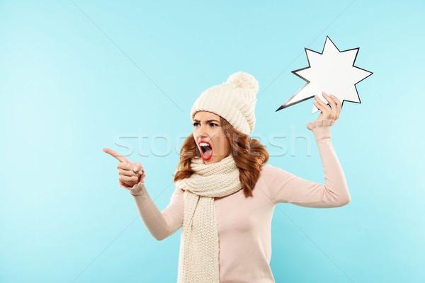 Portret mad wściekły dziewczyna zimą ubrania Zdjęcia stock © deandrobot