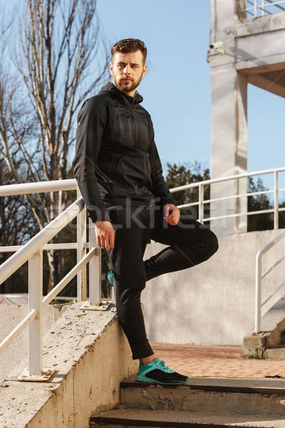 портрет молодые спортсмен за пределами Сток-фото © deandrobot