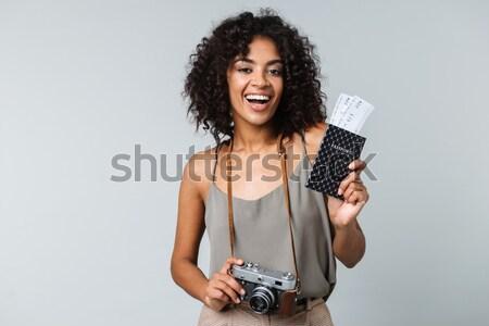 Komik kadın meme yalıtılmış beyaz Stok fotoğraf © deandrobot