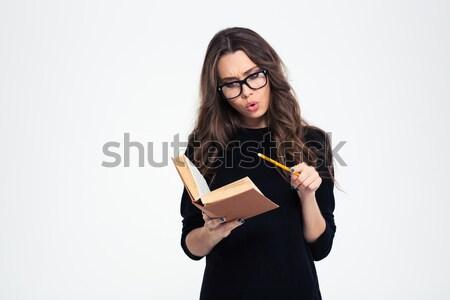ストックフォト: 女性 · 眼鏡 · 図書 · 肖像 · 若い女性