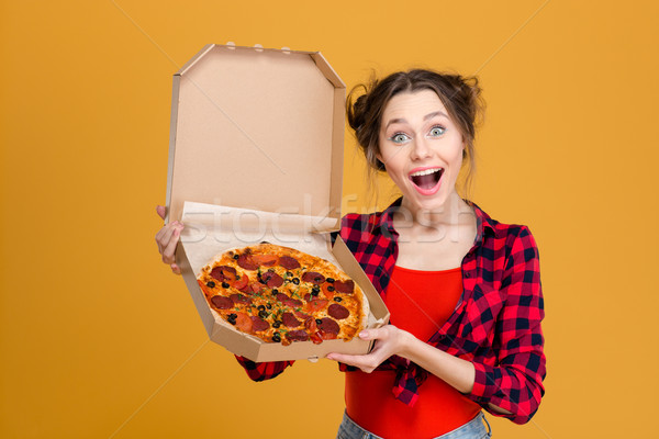 Portret zabawny młoda kobieta pizza Zdjęcia stock © deandrobot