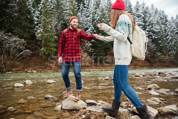 человека помогают женщину ходьбы пород счастливым Сток-фото © deandrobot