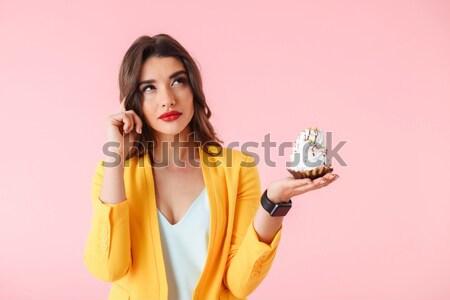 Engraçado zangado mulher jovem doce Foto stock © deandrobot