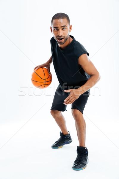 Stockfoto: Portret · afrikaanse · man · spelen · basketbal