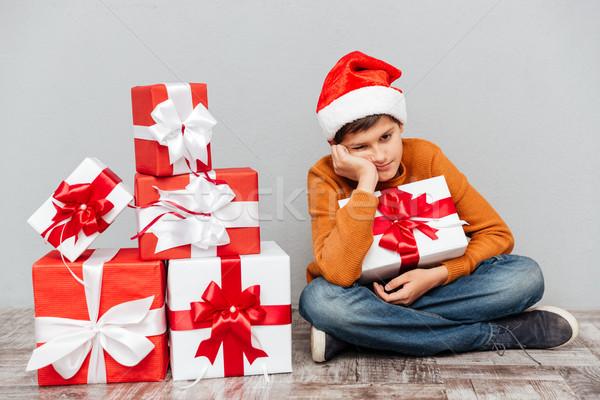 печально скучно мальчика Hat сидят Сток-фото © deandrobot