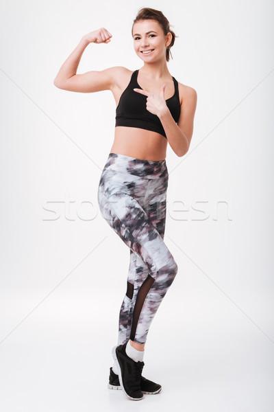 かなり 小さな フィットネス 女性 上腕二頭筋 ストックフォト © deandrobot