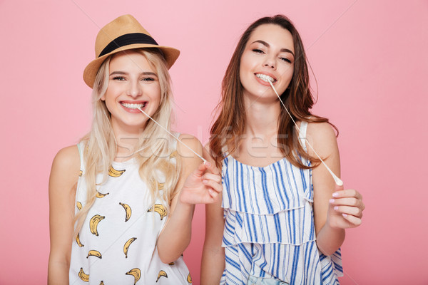 Two smiling cute girls standing and chewing bubble gum Stock photo © deandrobot