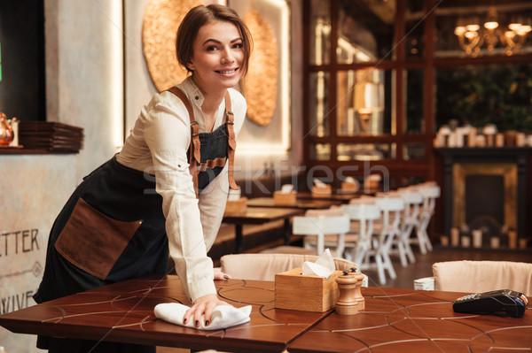 счастливым официант Постоянный кафе фотография Сток-фото © deandrobot