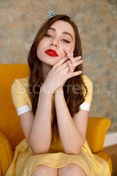Sensual beautiful pin up girl in yellow dress Stock photo © deandrobot