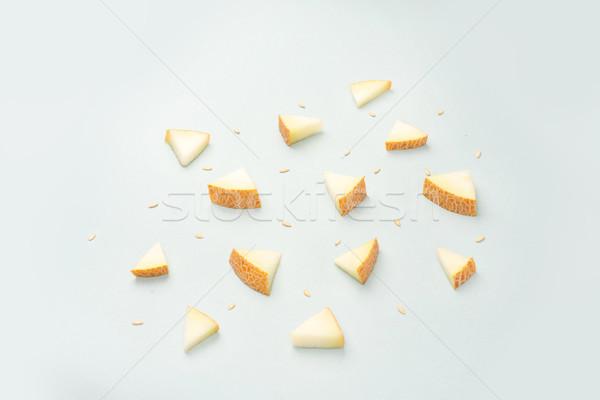 Stukken meloen Blauw verschillend driehoek Geel Stockfoto © deandrobot