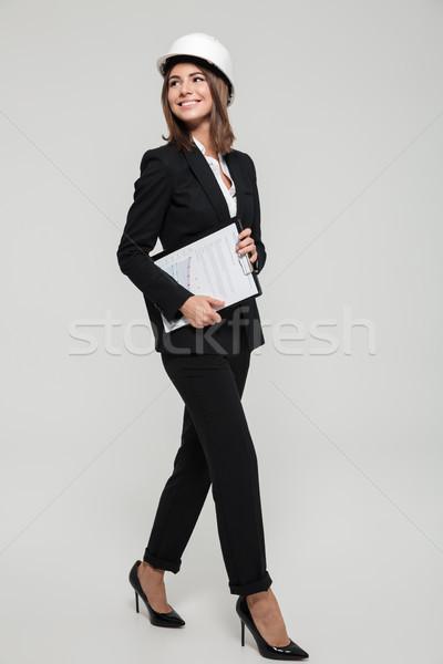 肖像 幸せ 若い女性 ヘルメット スーツ ストックフォト © deandrobot