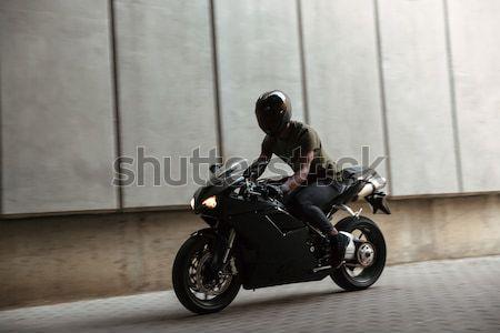 Porträt jungen afro Mann Motorrad Stock foto © deandrobot