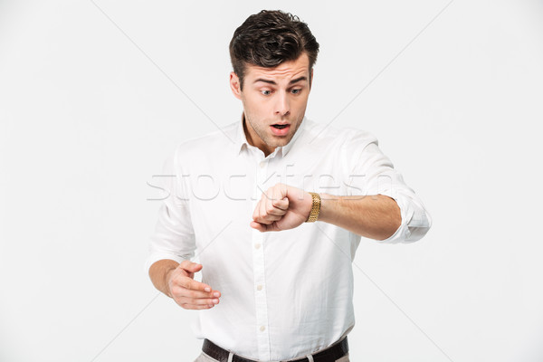 Portrait of a shocked young man Stock photo © deandrobot