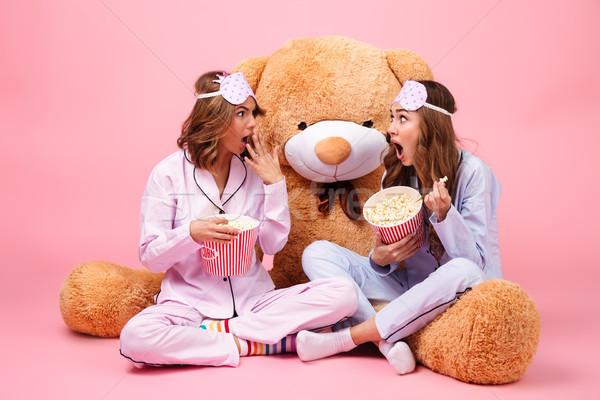 2 かなり 女の子 パジャマ 座って ストックフォト © deandrobot
