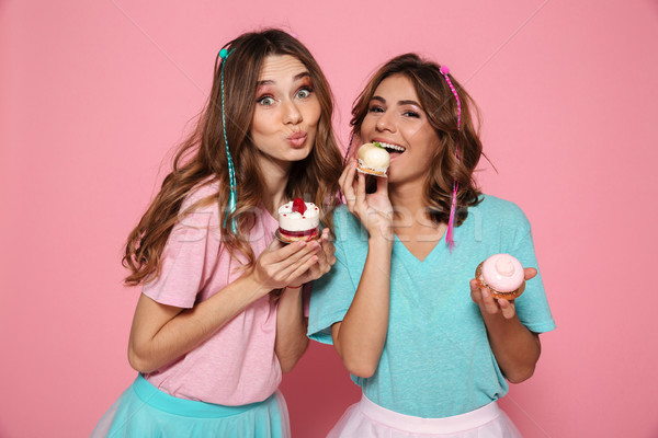 Dois encantador meninas colorido roupa Foto stock © deandrobot