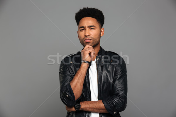 Portrait pensive afro homme Photo stock © deandrobot