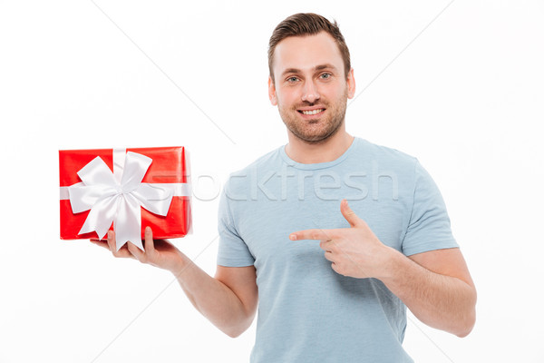 Image of good-looking guy having bristle smiling and pointing in Stock photo © deandrobot