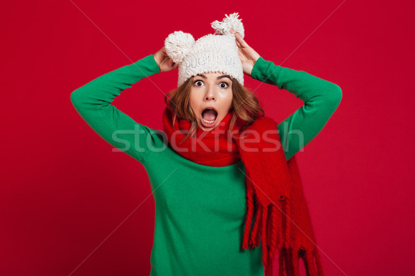 Shocked brunette woman in sweater, funny hat and scarf Stock photo © deandrobot