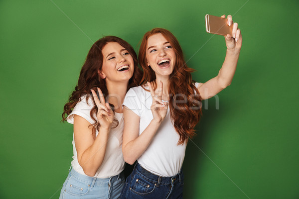 Portrait of two joyful women with ginger hair taking selfie on s Stock photo © deandrobot