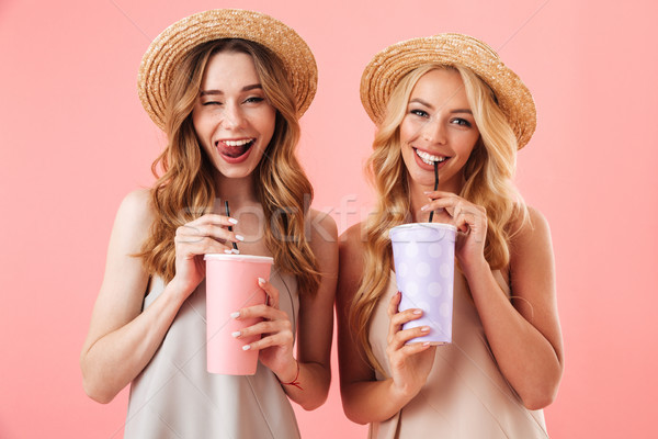 Two happy pretty women in dresses and hats posing together Stock photo © deandrobot