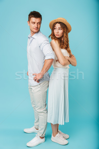 Caucasian man try to flirting with woman Stock photo © deandrobot
