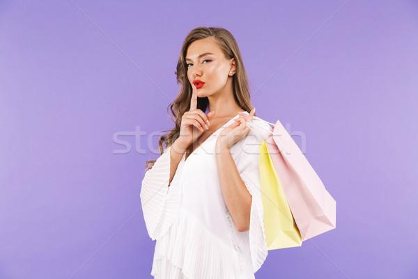 портрет довольно белое платье позируют Постоянный Сток-фото © deandrobot