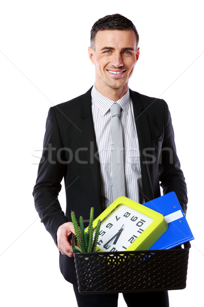 You are fired! Smiling businessman hold box with personal belongings isolated on white background Stock photo © deandrobot