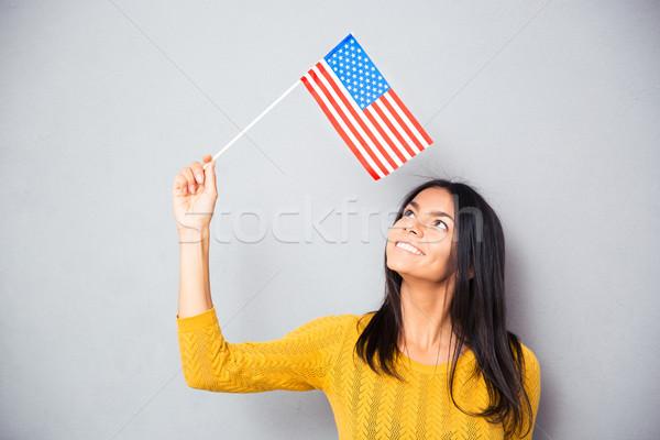 Stok fotoğraf: Kadın · amerikan · bayrağı · mutlu · gündelik · gri