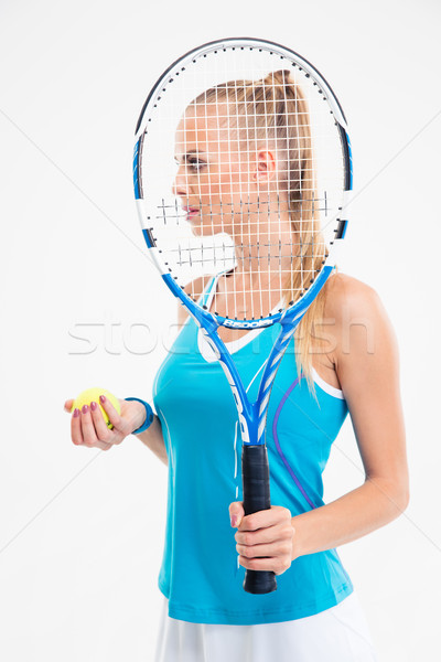 Side view portrait of a beautiful tennis player  Stock photo © deandrobot
