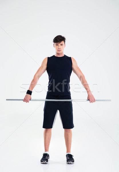 Fitness man training barbell portret Stockfoto © deandrobot