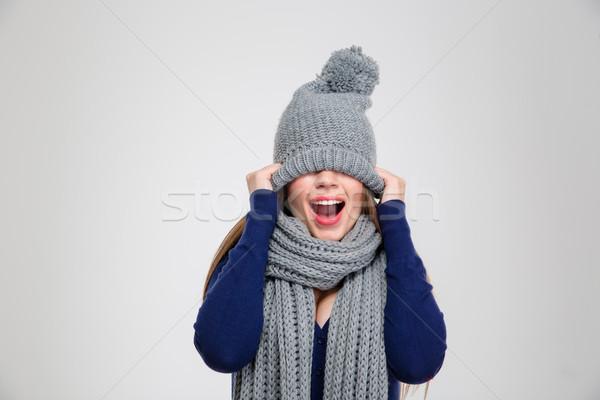 Femme yeux chapeau portrait isolé Photo stock © deandrobot