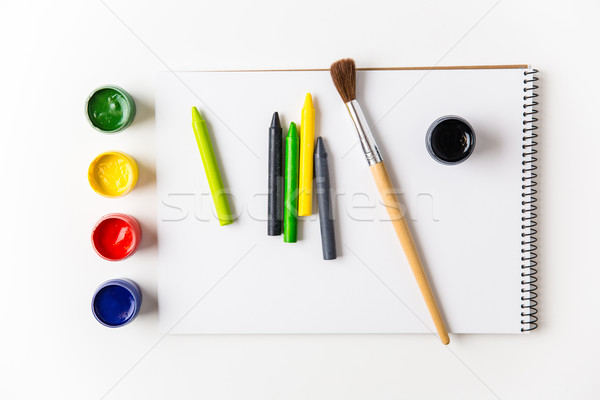 Colorful paints, crayons and brushes lying on art album  Stock photo © deandrobot
