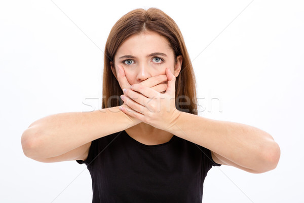 Sad depressed young woman covered her mouth with both hands Stock photo © deandrobot