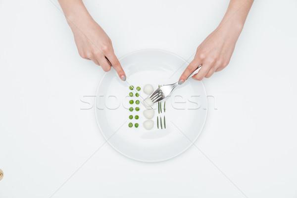 Mani donna mangiare sano alimentare forcella coltello Foto d'archivio © deandrobot
