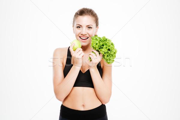 Excitado jóvenes deportes mujer lechuga Foto stock © deandrobot