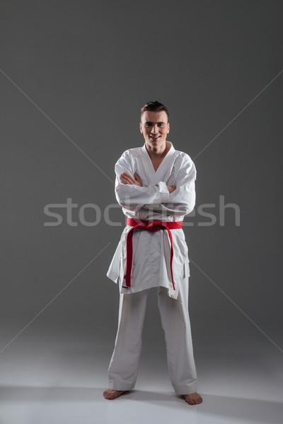 çekici genç kimono uygulama karate Stok fotoğraf © deandrobot
