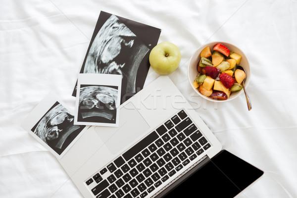 ノートパソコン フルーツサラダ 超音波 写真 ベッド ベッド ストックフォト © deandrobot