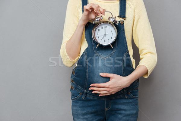 照片 孕婦 時鐘 常設 孤立 商業照片 © deandrobot