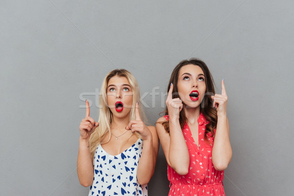 Shocked young women looking aside and pointing. Stock photo © deandrobot