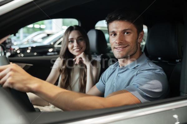 Paar vergadering zitting auto mooie Stockfoto © deandrobot